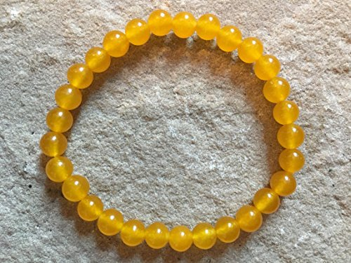 - JP_Beads Rare Yellow South American Topaz 6mm semi Precious Gemstone Bracelet