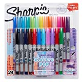 Sharpie Ultra-Fine-Point Permanent Markers, 24-Pack Electro Pop Coloured Markers (32893PP)