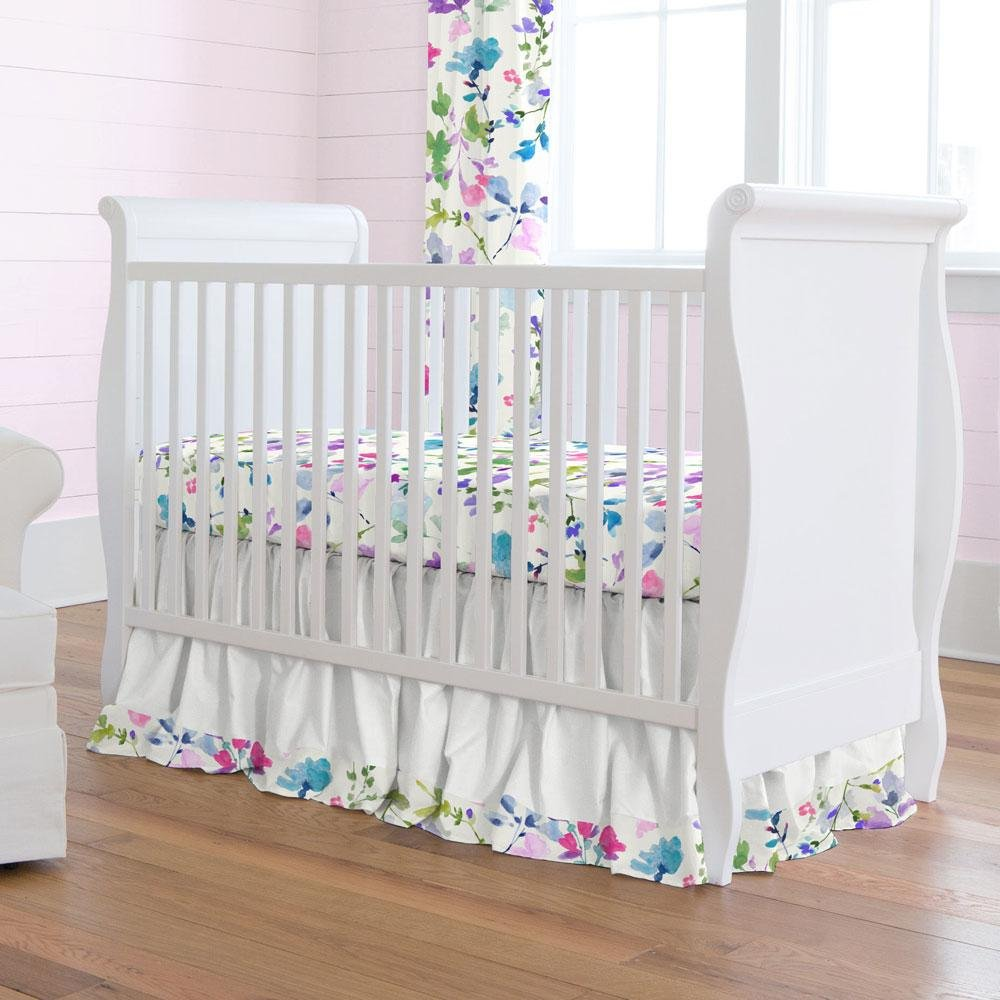 Carousel Designs Wildflower Garden Crib Skirt Gathered 20-Inch Length