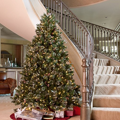 amazoncom glittery pine full pre lit christmas tree home kitchen - 9 Ft Christmas Tree