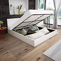 FAMIROSA Cama canapé hidráulica Cuero sintético Blanco 180x200 cm
