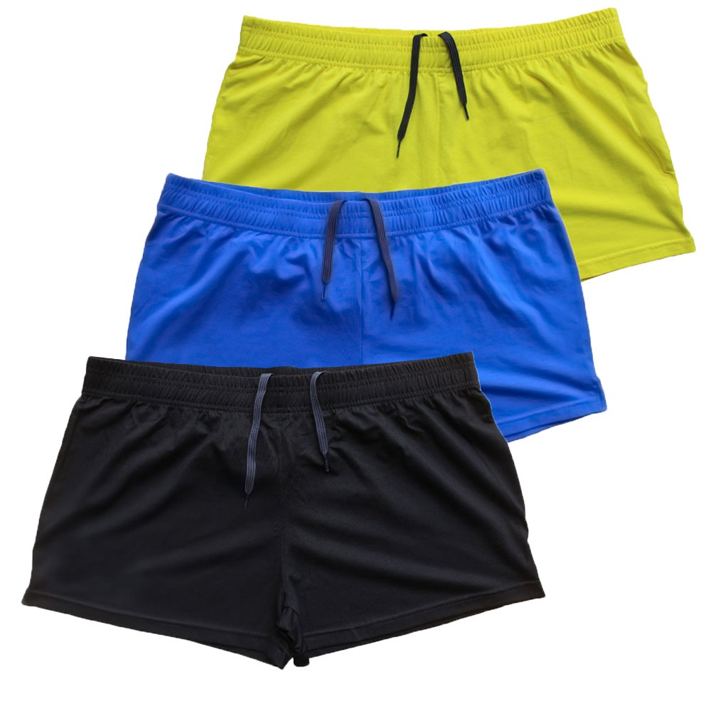 MUSCLE ALIVE Mens Bodybuilding Shorts 3'' Inseam Cotton Size M Black Blue and Yellow 3 Packs