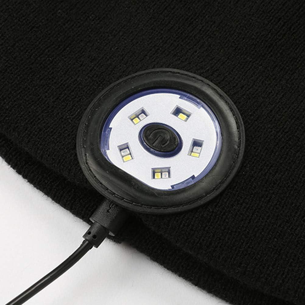 Cappello Bluetooth con luce Berretto Bluetooth 5.0 senza fili Cappello musicale Cappello da corsa ricaricabile USB Cappellino invernale pi/ù caldo Cappello lavorato a maglia a LED per uomo Donna