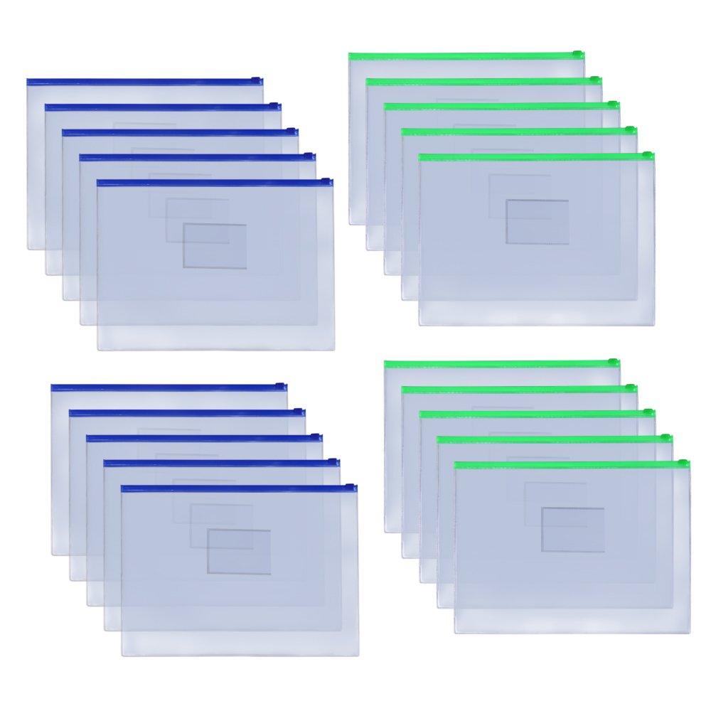 MoMaek 20pcs Plastic Transparent Envelopes with Zipper, A4 Size,Ramdom Zipper Colors