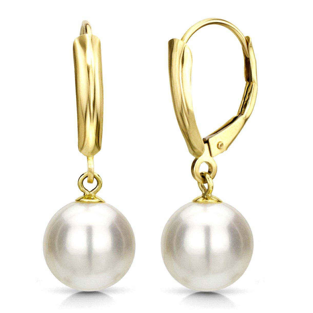 White Freshwater Cultured Pearl Earrings Dangle Leverback 14K Yellow Gold Wedding Gift 7-7.5mm by La Regis Jewelry