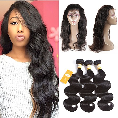 Ossilee Hair 10A Grade 360 Lace Frontal Closure with Bundles Malaysian Body Wave Virgin Hair Bundles with 360 Lace Frontal Unprocessed Human Hair with 360 Frontal(14 16 18+12 360frontal, Natural Color (Pre Plucked 360 Lace Frontal With Bundles)