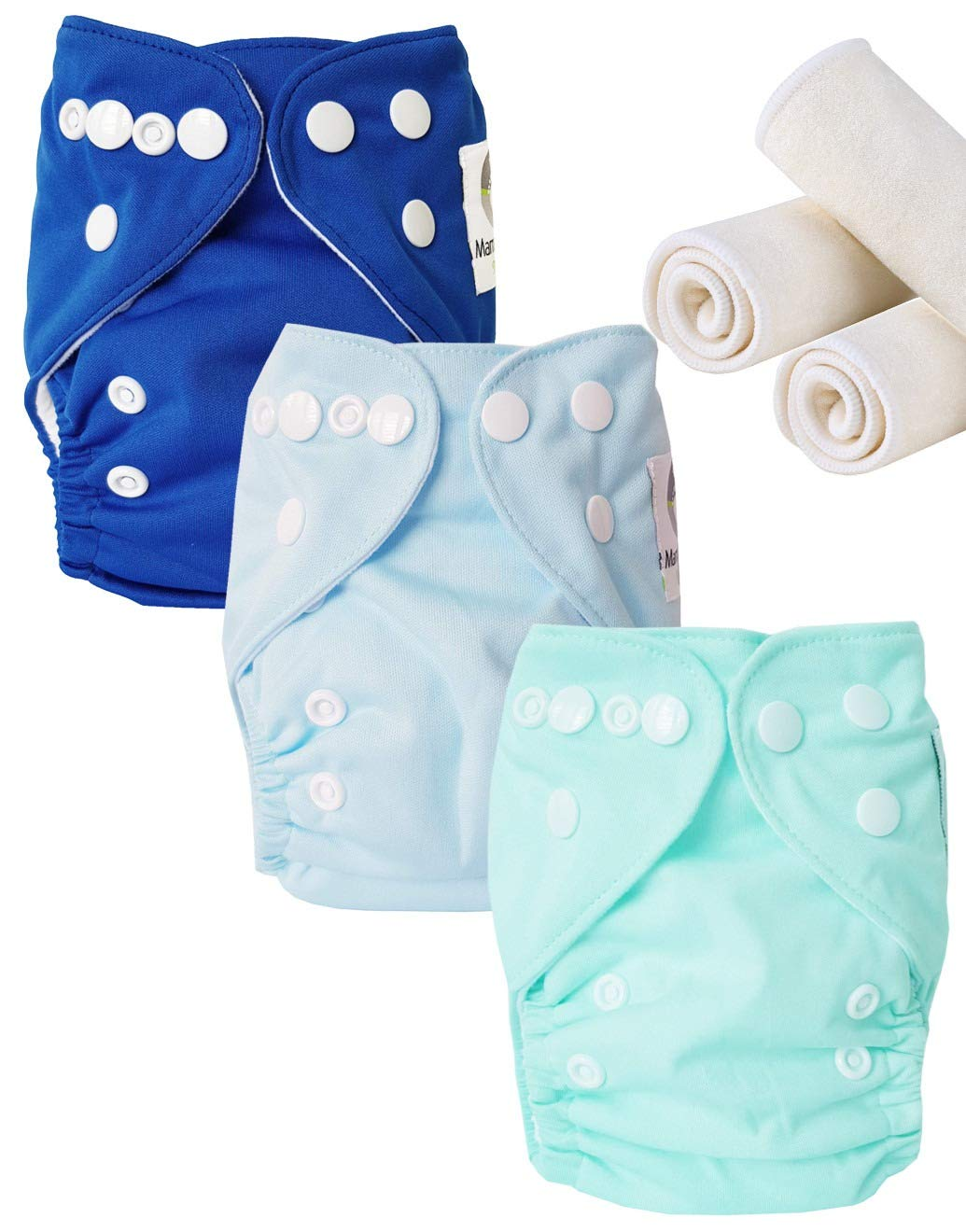 Maman et bb Nature Newborn Lot de 3 Couches lavables Newborn Te1 Blue touch