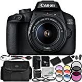 Canon EOS 4000D Digital Camera with EF-S 18-55mm f/3.5-5.6 III Lens 13PC Accessory Bundle – Includes 16GB Memory Card + 3PC Filter Kit (UV + CPL + FLD) + More - International Version (No Warranty)