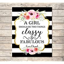 """A Girl Should Be Two Things, Classy And Fabulous - Coco Chanel Quote Art Print, Inspirational Art Print, Typography Wall Art, Unframed Print, 8""""x10"""" Black And White Stripes And Flowers - A440"""