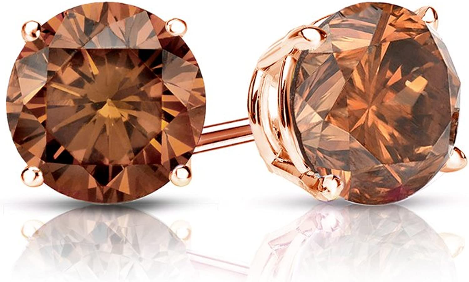 Amazon Com Brown Diamond Stud Earrings 14k Rose Gold Round 1 4 Cttw Brown Si1 Si2 4 Prong Basket Set With Push Back By Diamond Wish Jewelry