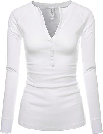 TALLA US X-Small(Talla de la etiqueta Small). NEARKIN Womens Slim Cut característica Dobladillo diseño Camiseta de Manga Larga