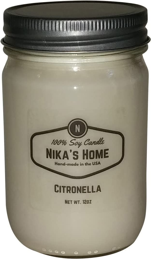 Nika's Home Citronella Soy Candle - 12oz Mason Jar