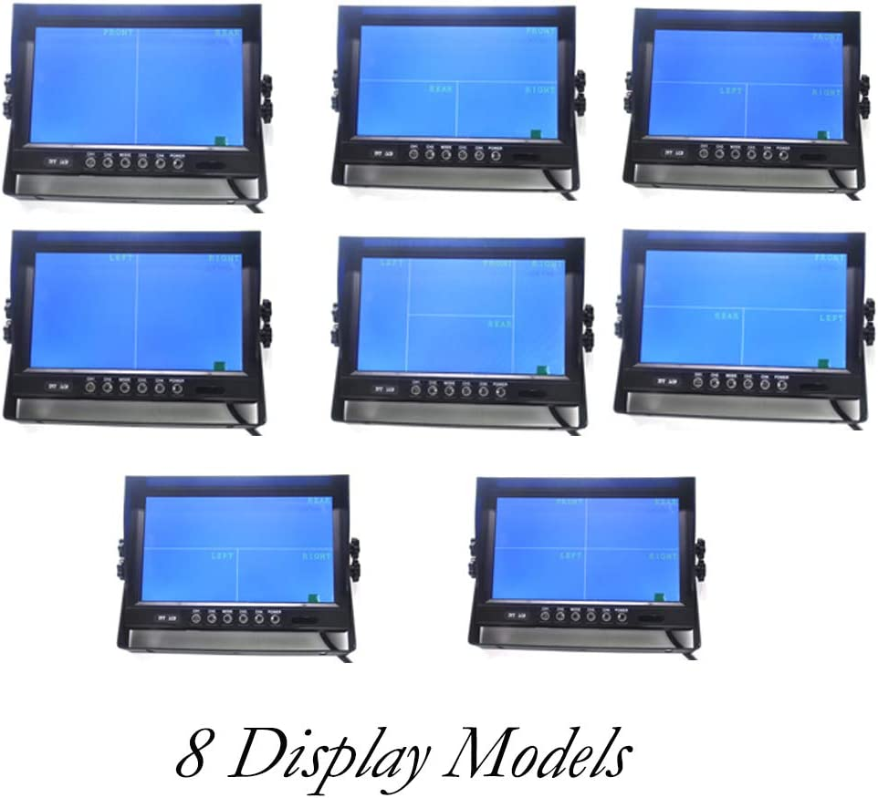 Padarsey 9 TFT LCD Car Rearview Quad Split Monitor,Remote Control 4 Channels 4-PIN Connector Video Inputs Shockproof 12V-24V 800480HD Screen w//Sunshade Anti-Glare