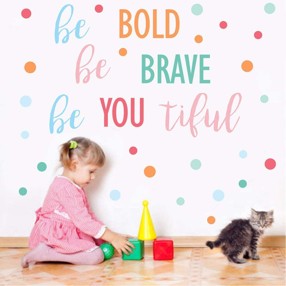 IARTTOP Inspirational Quote Wall Decal,Be Bold Be Brave Be You Tiful with Colorful Polka Dot Wall Sticker,Motivational Sayings Decals for Classroom Kids Room Nursery Wall Decor