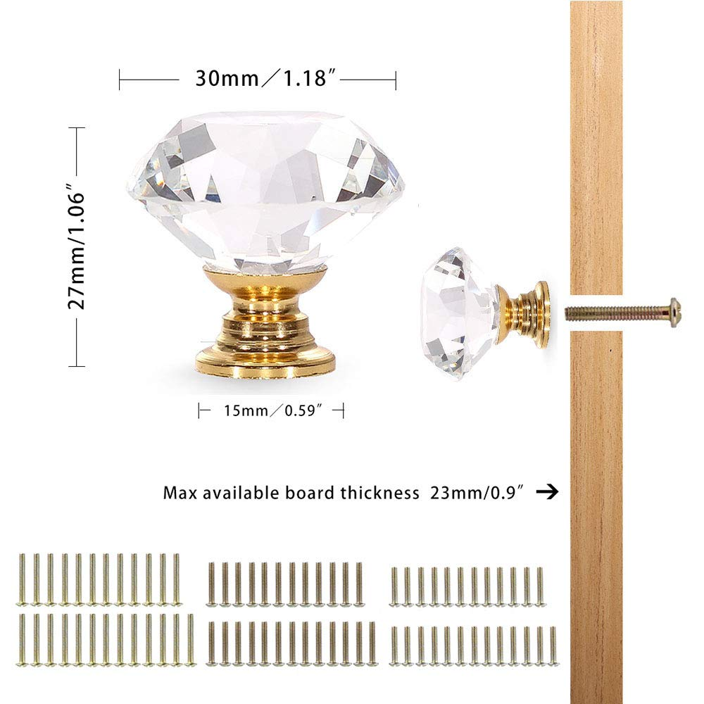 CZC HOME 25 PCS Crystal Glass Pull Handle Cupboard Cabinet Knobs Drawers Shutters Dressers Bathroom 40mm, Transparent
