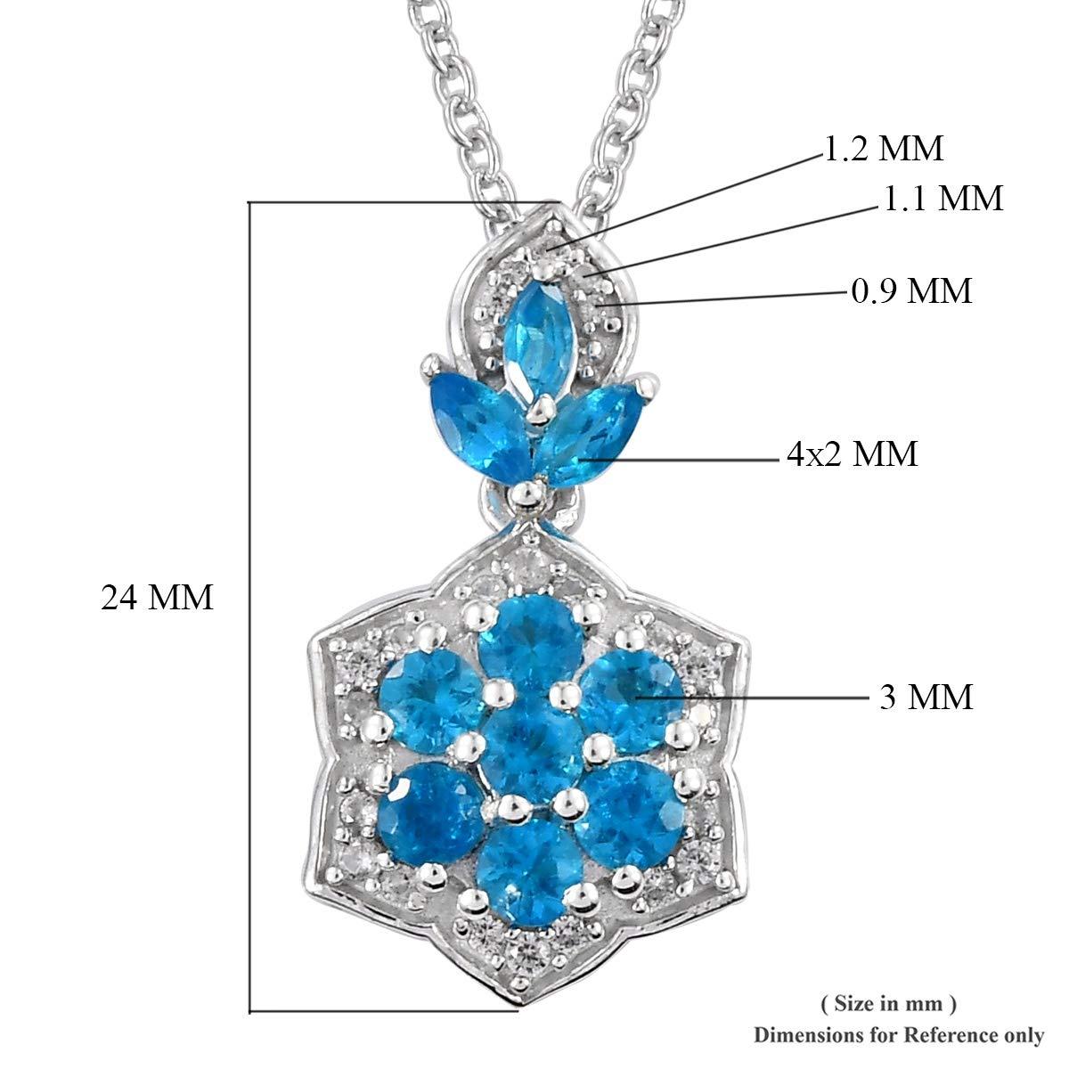 Malgache Neon Apatite Zirconia Flower Pendant Necklace 20 Platinum Plated 925 Sterling Silver Jewelry for Women