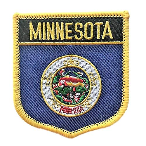 (Minnesota Flag Badge Patch/U.S. State Shield Embroidered Iron-On/Sew-On Patch Collection (MN Crest, 3.00
