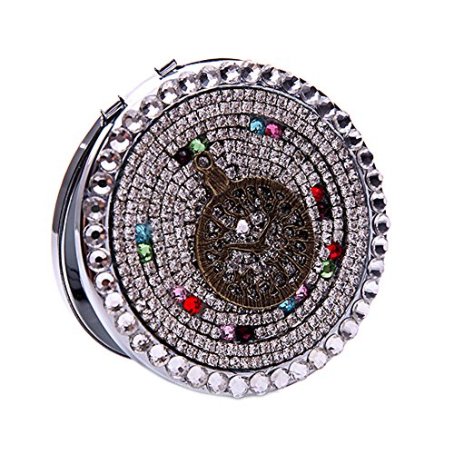 Portable Makeup Cosmetic Compact Mirror Purse Handbag Mirror 7*7*1.5cm with Circle Diamond Multicolor A (Detail Purse)