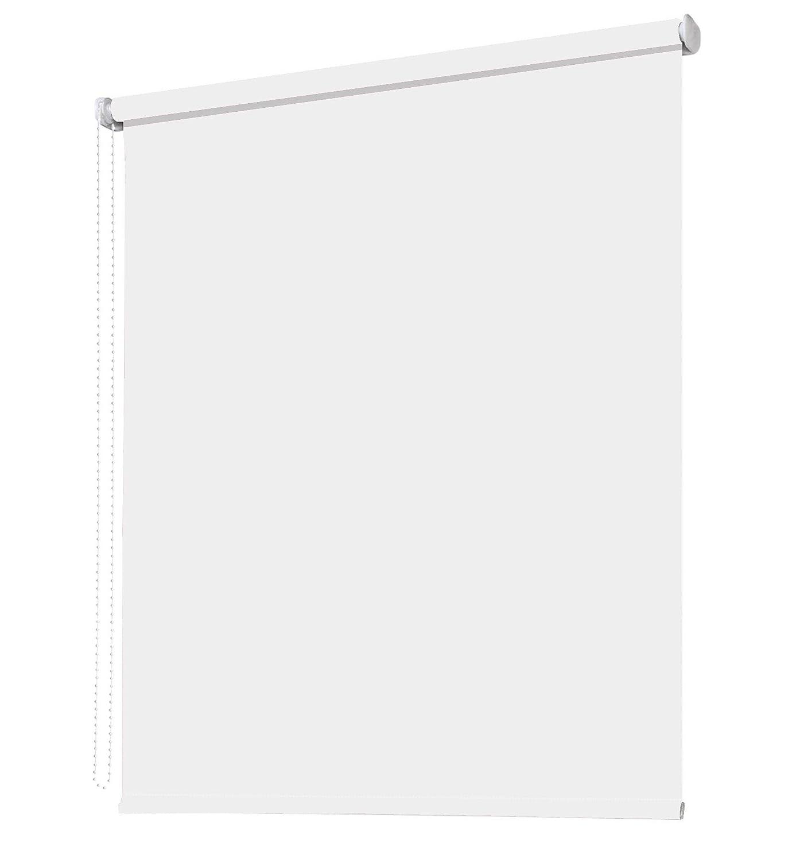 Seitenzugrollo Kettenzugrollo Fenster Rollo 8 Farben Breite 62 bis 242 cm Höhe 160 cm Vorhang blickdicht halbtransparent lichtdurchlässig Sonnenschutz Blendschutz (Größe 162 x 160 cm Farbe Weiß)