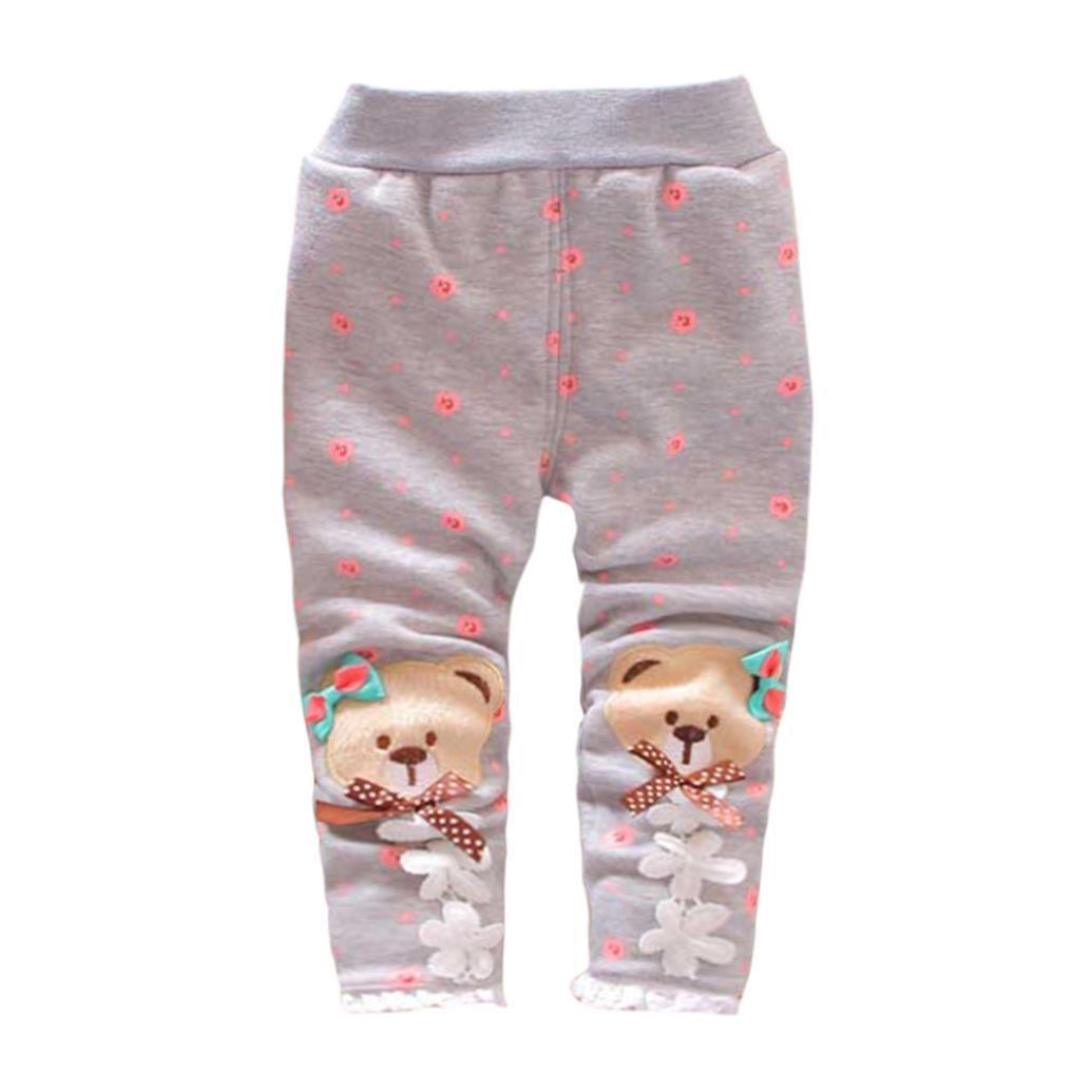 SHOBDW Girls Trousers, Baby Girl Child Trendy Winter Warmer Bear Bowknot Pants Leg Trousers Legging SHOBDW-11