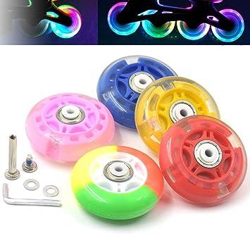 ... pcs al aire libre luz Inline deslizante Flash sintética para patines ruedas 70 mm piezas de repuesto, rainbow color, 70 mm: Amazon.es: Juguetes y juegos