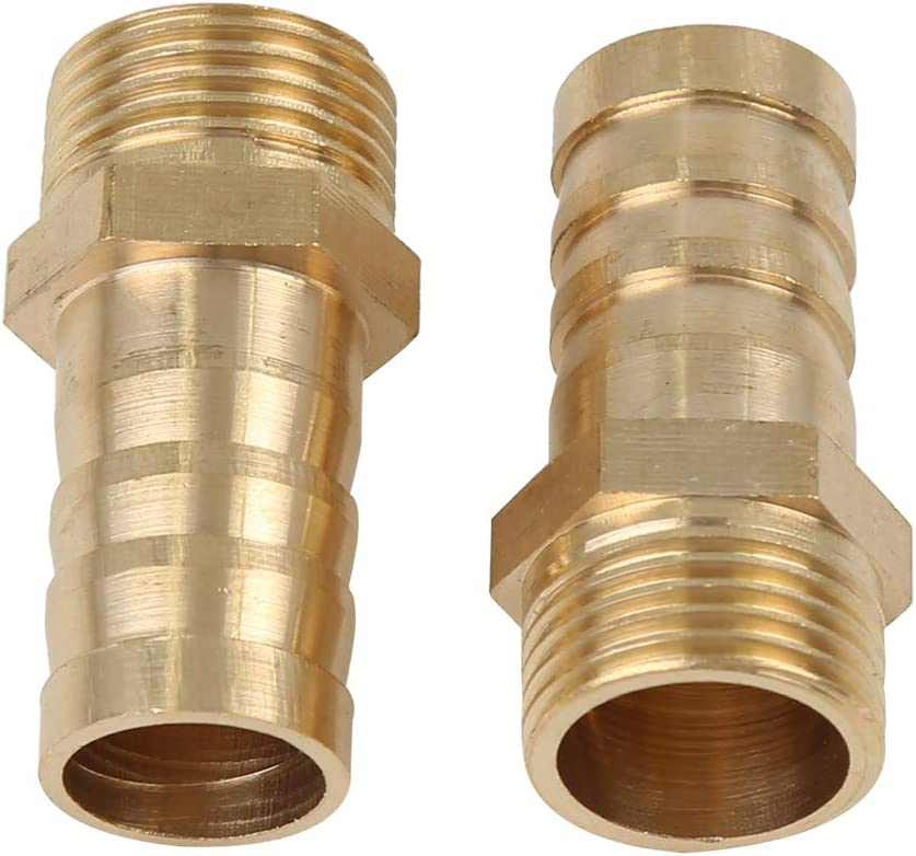 X AUTOHAUX 5pcs 14mm Hose ID x 3//8 Inch NPT Male Car Water Fuel Pipe Brass Hose Tail Barb Fitting Connector