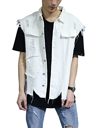 f18decd813 Gihuo Men s Distressed White Denim Vest Sleeveless Jean Jacket at Amazon  Men s Clothing store