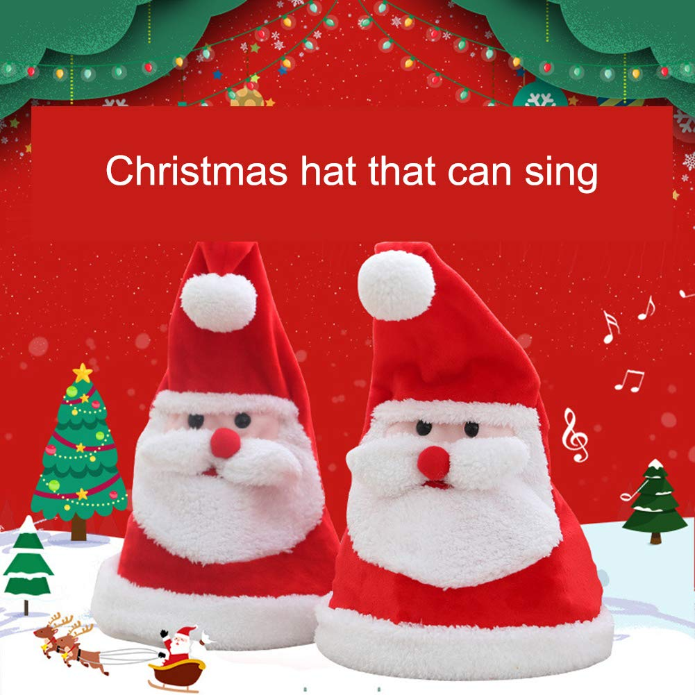 SYLOTS 2Pcs Plush Santa Hat Singing & Dancing Red Santa Electric Hat for Christmas Party Favors Fit for Adults and Kids by SYLOTS