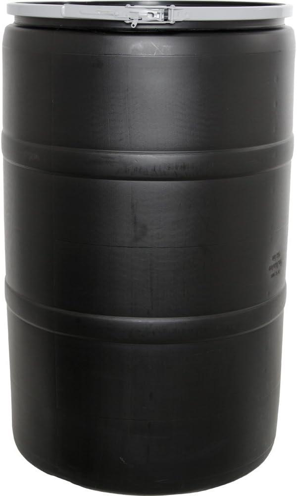 Hydrofarm HG55DRUM Solid Lid & Lock, 55 Gallon Drum with Locking Lid, Black