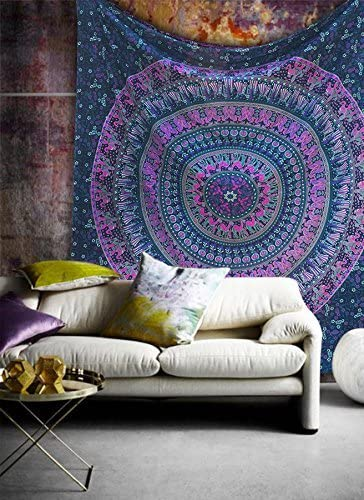 Popular Handicrafts Hippie Mandala Bohemian Psychedelic Intricate Floral Design Indian Bedspread Magical Thinking Tapestry 84×90 Inches, 215x230cms Blue Pink