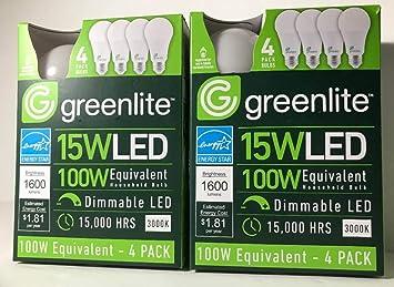 8 PACK 15W Greenlite LED 100 Watt Equivalent Dimmable A19 Light Bulbs 3000K