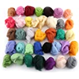 Kit de iniciación de fieltro de aguja 36 colores Conjunto de lana de fieltro Empaque de hilo de lana de fibra para hilado de…