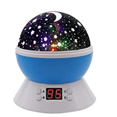 MOKOQI Modern Rotating Moon Sky Projection LED Night Lights Toys Table Lamps with Timer shut off & Color Changing For Baby...