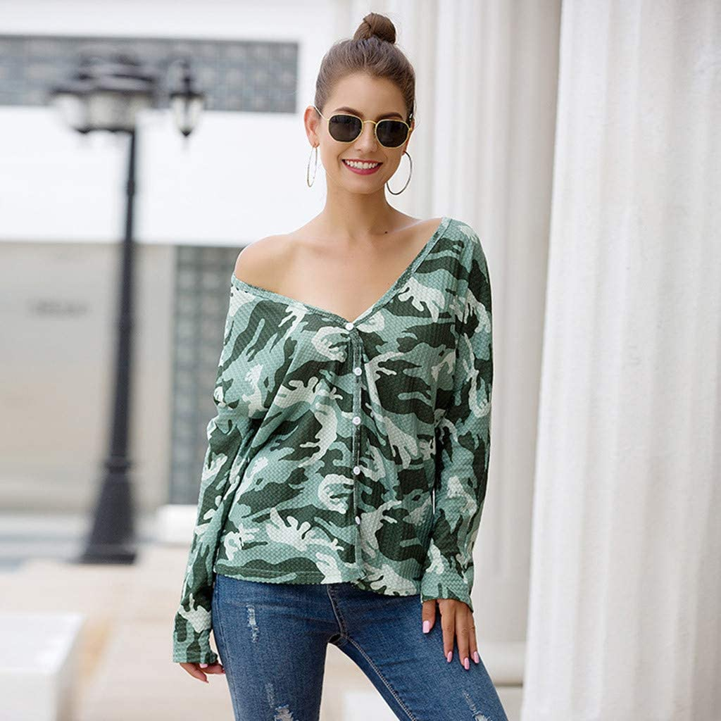 Toraway Women V-Neck Camouflage Printed Long Sleeve Button Cardigan T-Shirt Tops Women Pullover