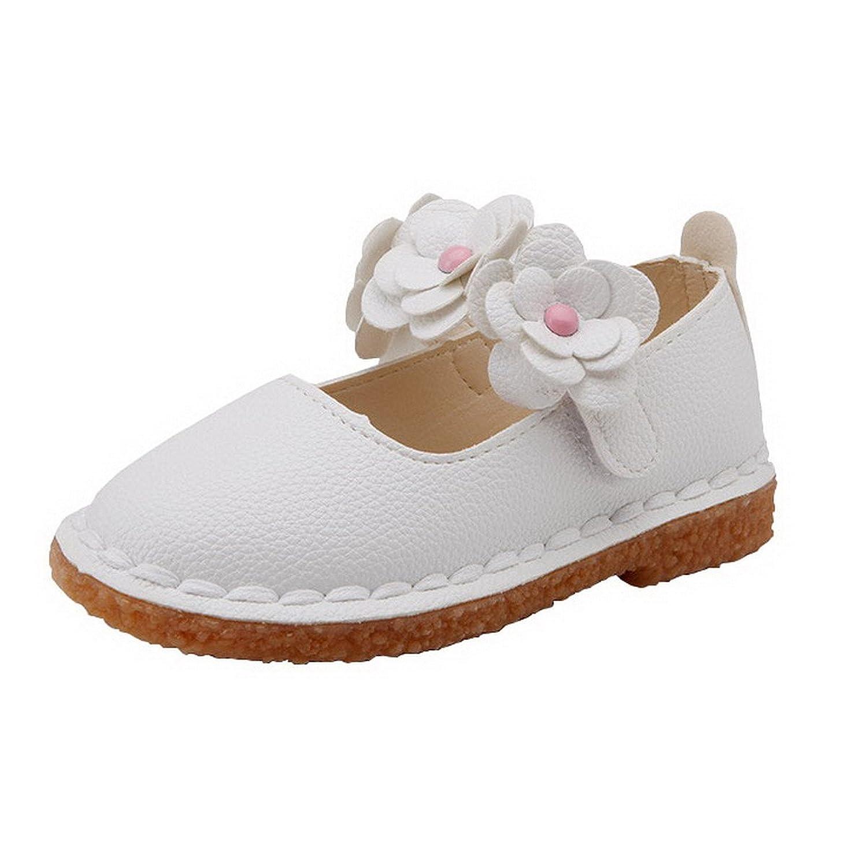 AHATECH Ballerines Fille Princesse Chaussures Enfant Bebe Plates Velcro Ceremonie Mariage à Fleurs - Blanches