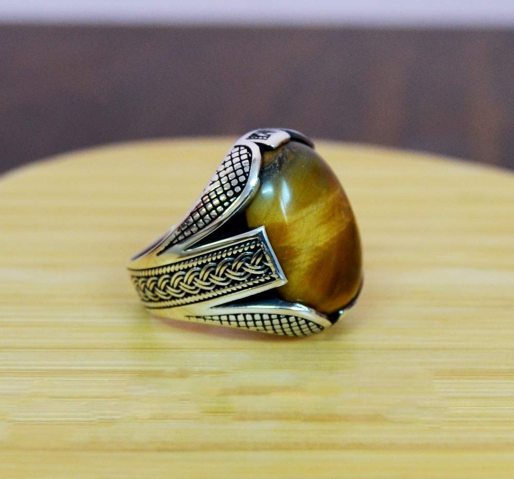 925 Sterling Silver Handmade Authentic Turkish Tiger Eye Men/'s Ring Size 6-9