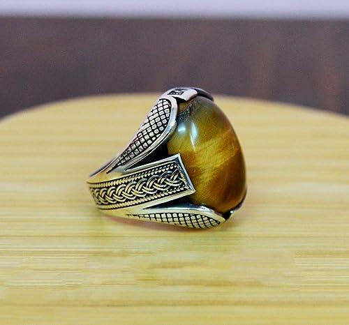 Turkish Handmade Tigers Eye Gemstone Mens Signet Ring,Tigers Eye Sterling Silver Rings for Men Tiger Eye 925 Sterling Silver Rings