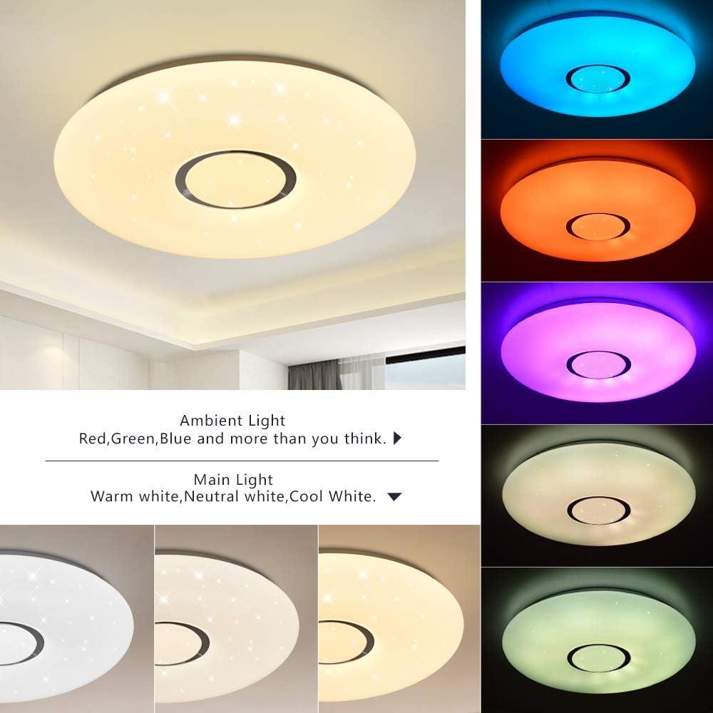 Plaf/ón Bluetooth 24W /Ø 40CM Plaf/ón LED con altavoz cambio de color JDONG RGB regulable mando a distancia y control APP l/ámpara cielo estrellado,resistente al agua IP44