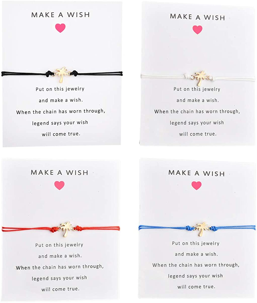 HUNO Friendship Bracelet with Wish Card Shell Pineapple Infinity Charm Bracelet for Friends Gifts Couple Jewelry 4Pcs/Pack