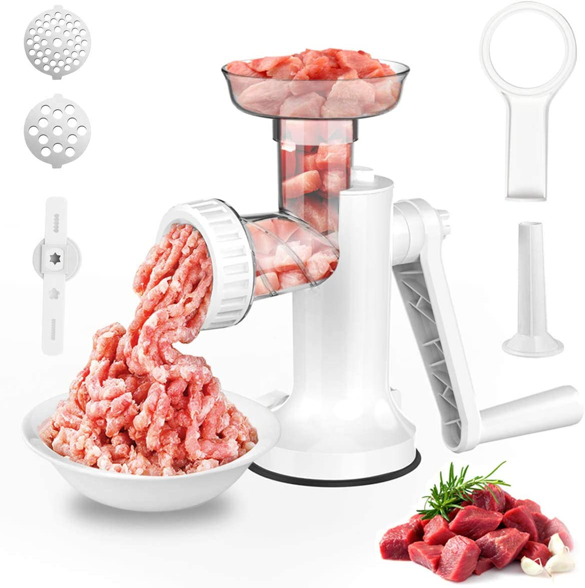 LHS Manual Meat Grinder, Heavy Duty Meat Mincer Sausage Stuffer, 3-in-1 Hand Grinder with Stainless Steel Blades for Meat, Sausage, Cookies, Easy to Clean