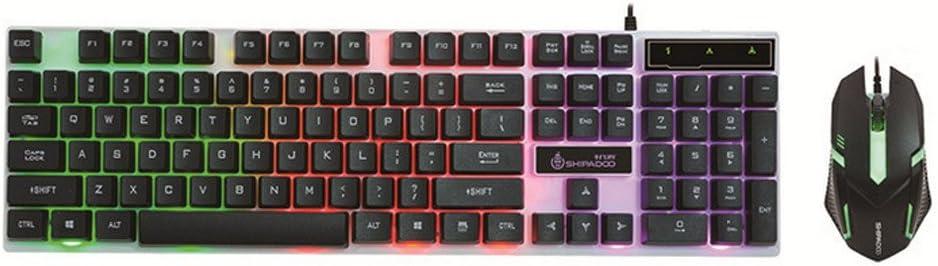 YOUZHA toetsenbord ergonomisch design LED-regenboogkleuren-achtergrondverlichting instelbaar spel USB-kabel toetsenbord muisset antislip en waterdicht ontwerp zwart zwart