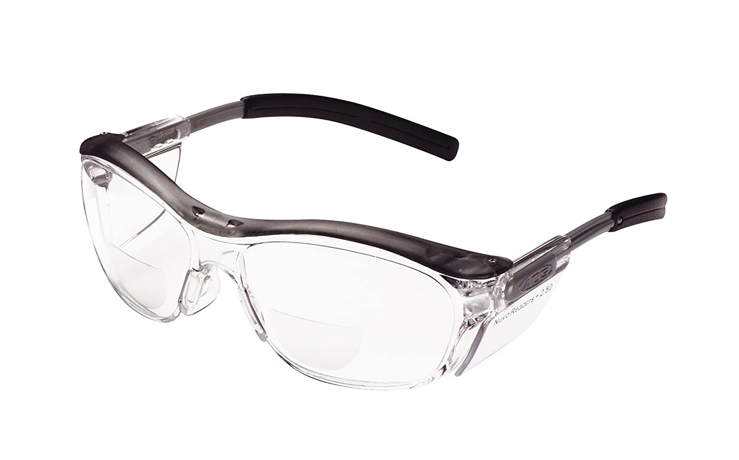 3M Nuvo Reader Protective Eyewear, 11436-00000-20 Clear Lens, Gray Frame, +2.5 Diopter(Pack of 1)