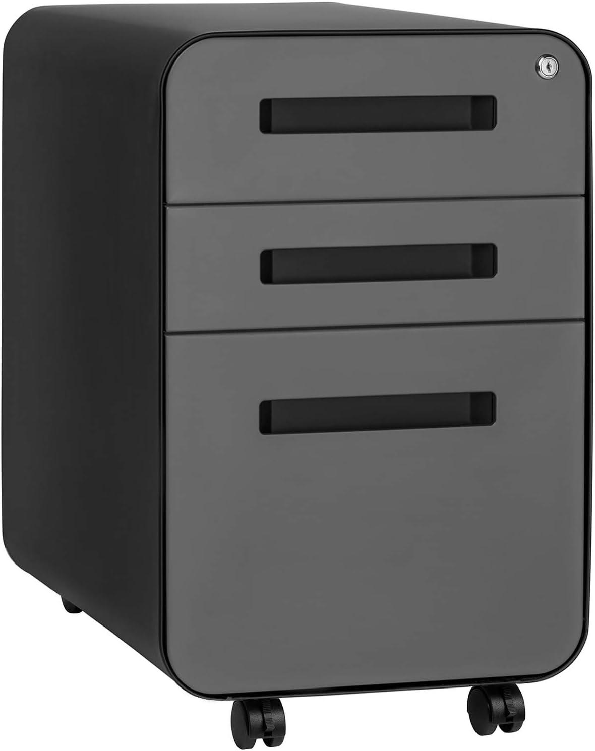 Stockpile 3-Drawer File Cabinet, Commercial-Grade (Black/Grey): Kitchen & Dining