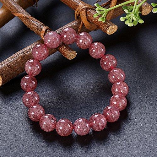 Bracelets Coco Cut (Strawberry Quartz Love Stretch Bracelet - Healing Crystal Jewelry, Reiki Infused Gemstone Bracelet for Women Girl Gift)