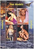 Top Models - Elizabeth Hurley, Eva Herzigova, Valeria Mazza and Naomi Campbell stamp sheet with 4 stamps - never mounted