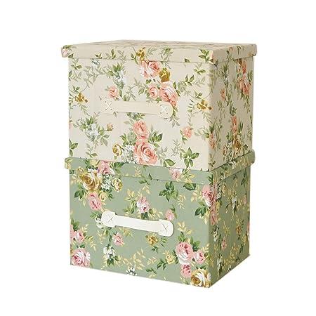RayLineDo Caja de almacenaje Plegable Hecha de Lona, para Guardar Ropa, Tela, Verde, 2 * 38 * 26 * 26cm: Amazon.es: Hogar
