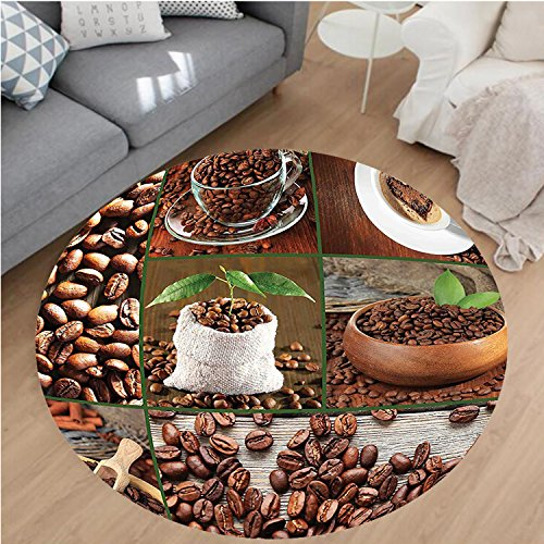Nalahome Modern Flannel Microfiber Non-Slip Machine Washable Round Area Rug-lage of Coffee Beans in Cups and Bags with Green Leaves on Wooden Table Photo Brown Green area rugs Home Decor-Round 63