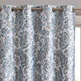 Cheap HLC.ME Amalfi Paisley Faux Silk 100% Blackout Room Darkening Thermal Lined Curtain Grommet Panels for Bedroom – Energy Efficient, Complete Darkness, Noise Reducing – Set of 2 (Neutral, 52″ W x 96″ L)
