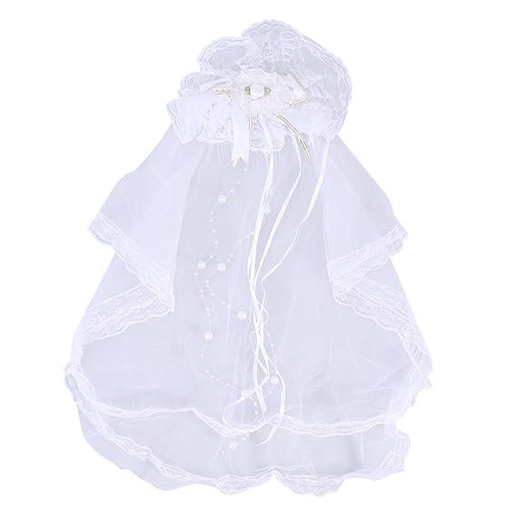 LUOEM Velo de Novia con Lazo de Encaje con Peine Disfraz de Novia Princesa para Niños