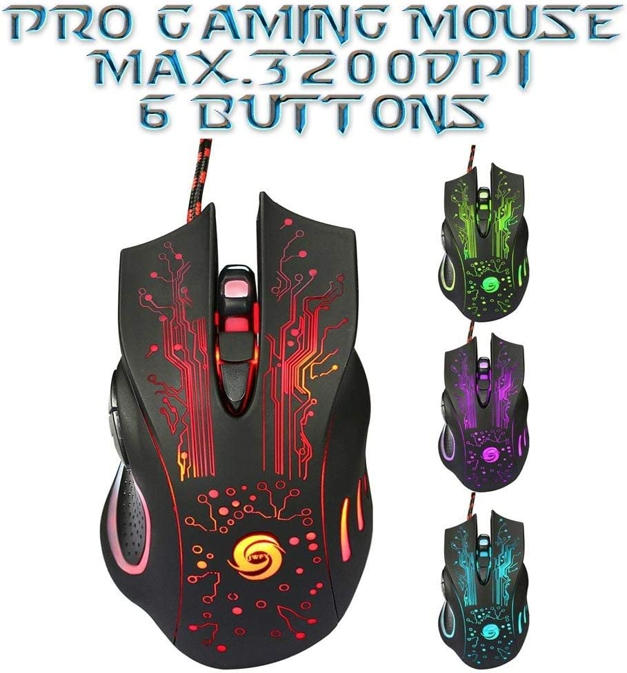 3200 DPI Wired 6D LED Mice Optical USB Gaming Mouse For Laptop PC Gamer Desktop